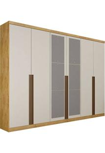 Guarda-Roupa Casal Com Espelho 6 Portas E 8 Gavetas Quebec- Novo Horizonte - Freijo Dourado / Off White