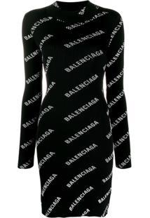 Balenciaga Vestido Com Estampa De Logo - Preto