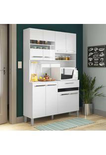 Cozinha Compacta 8 Portas Com Pés Ac810 Branco/Preto - Decibal Móveis