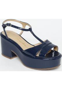 Sandália Meia Pata Com Tiras - Azul Escuro - Salto: Luiza Barcelos
