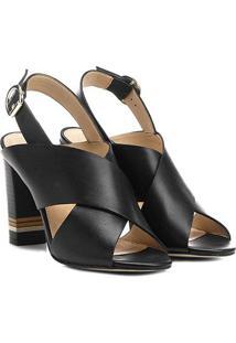 Sandália Couro Shoestock Salto Grosso Fachete Tiras Feminina - Feminino-Preto