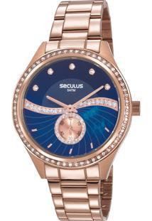 95fea1c912a E Clock. Relógio Analógico Feminino Seculus 20612lpsvrs2