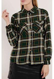 Camisa Xadrez Manga Longa Feminina Verde