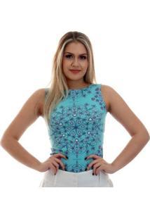Regata Feminina Estampa Exclusiva Heart Mandala Tiffany Decote Canoa - Feminino-Azul Piscina