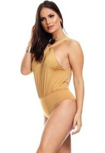 Body Clara Arruda Decote Nó 17006 - Feminino-Dourado
