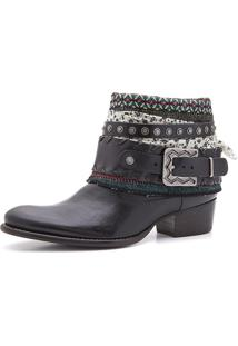 Bota Boho Chic Couro Charlotte Look Sioux Black