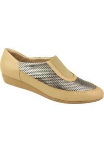 Sapato Conforto Usaflex Feminino - Feminino-Bege
