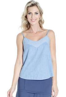 Regata Lado Basic Alça Fina Jeans Feminina - Feminino-Azul