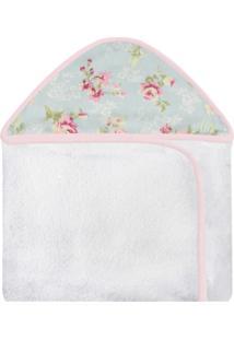 Toalha De Banho C/ Capuz Estampado Laura Baby - Ursa Realeza Floral