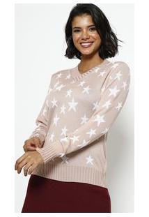 Ponto Aguiar Blusa Em Tricot Estrelas Rosa & Branca