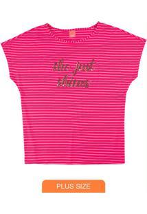 Blusa Rosa Listrada Com Lantejoulas
