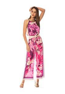 Calça Morena Rosa Pantalona Cós Elástico Com Sublimação Rosa