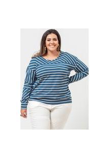 Blusa Listrada Almaria Plus Size Garage Gola Redonda Azul