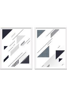 Quadro Oppen House 67X100Cm Formas Geométricas Liberté Cinza Moldura Branca Com Vidro
