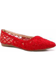 Sapatilha Zariff Shoes Floral Renda - Feminino-Vermelho