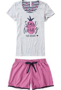 Pijama Curto Estampado Feminino Malwee Liberta