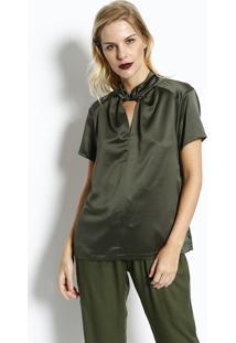 Blusa Acetinada Com Recorte - Verde Militar- Ahaaha