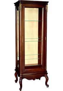 Cristaleira Delli Vitrine 1 Porta Entalhada Madeira Maciça Marchetaria Design Clássico