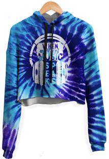 Blusa Cropped Moletom Feminina Speaks Music Tie Dye Md05 - Azul - Feminino - Poliã©Ster - Dafiti