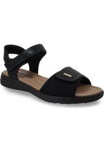 Sandália Comfortflex Salto Baixo Textura Feminino - Feminino-Preto