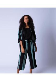 Kimono Estampa Feminino - Feminino-Verde