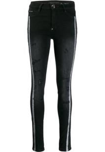 Philipp Plein Distressed Statement Jeggings - Preto