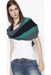 Cachecol Em Lã Listrado - Verde & Azul Marinholacoste