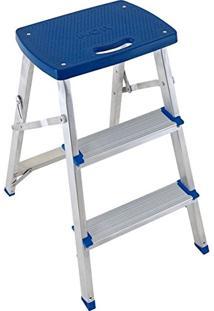 Escada Banqueta Banquinho Dobravel De Aluminio 3 Degraus Até 120Kg Anti Derrapante Mor