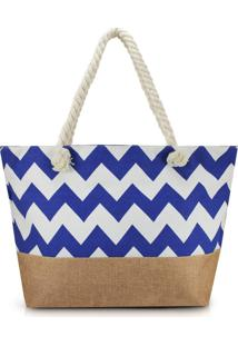Bolsa De Praia Estampada Lisa Com Alça De Corda Jacki Design Azul Marinho Com Marrom - Tricae