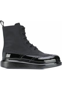 Alexander Mcqueen Contrast-Sole Ankle Boots - Preto