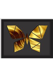 Quadro Decorativo Em Relevo Espelhado Borboleta Dourada Preto - Grande