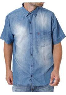 Camisa Sibra Jeans Manga Curta Masculina - Masculino-Azul