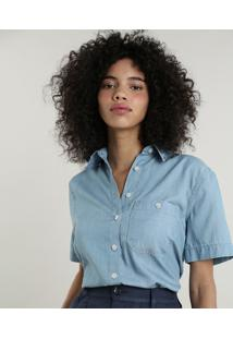 Camisa Jeans Feminina Mindset Com Bolso Manga Curta Azul Claro