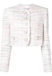 George Keburia Cropped Button Jacket - Branco