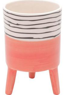 Vaso Bright Colors- Rosa & Branco- 15Xø10Cm- Urburban