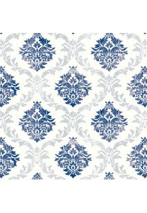 Papel De Parede Arabesco Cinza E Azul (950X52)