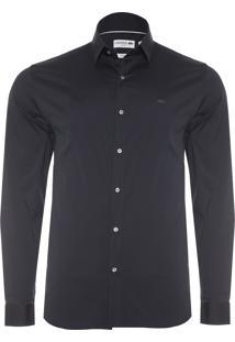 Camisa Masculina Slim Fit - Preto