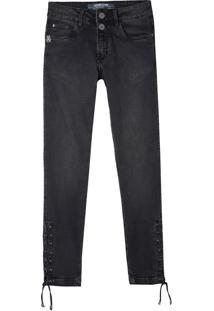 Calça John John Midi Skinny Acre Jeans Preto Feminina (Jeans Black Medio, 32)