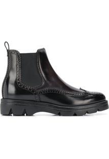 Santoni Embossed Ankle Boots - Preto