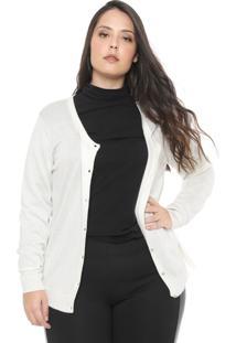 Cardigan Gris Plus Tricot Renda Off-White
