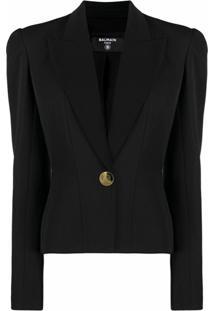 Balmain Blazer Com Abotoamento Simples E Ombros Matelassê - Preto