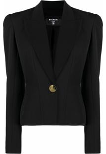 Balmain Padded-Shoulder Single-Breasted Blazer - Preto