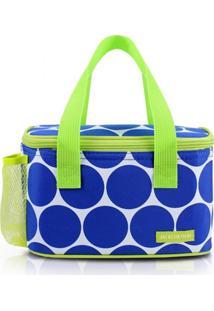 Bolsa Térmica Com Compartimento Rede Na Lateral Jacki Design Dots Azul - Tricae