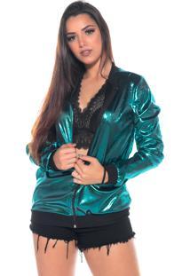 Jaqueta Bomber M&A Modas Metalizada Verde