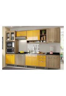 Cozinha Completa Multimóveis Com 7 Peças Sicília 5834 Argila/Amarelo
