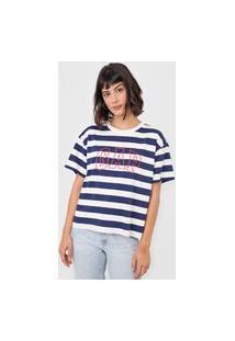 Blusa Gap Listrada Logo Branca/Azul-Marinho