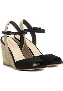 Sandália Anabela Couro Shoestock Corda Feminina - Feminino-Preto