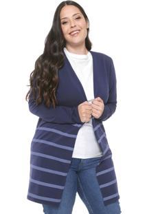 Maxi Cardigan Cativa Plus Listrado Azul-Marinho
