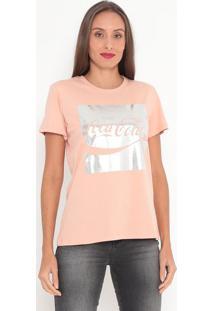 "Camiseta ""Enjoy"" Metalizada- Rosa Claro & Prateada- Coca-Cola"