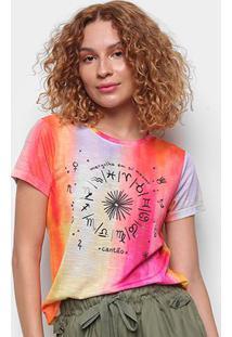 Camiseta Cantão Babylook Astrologia Manga Curta Feminina - Feminino-Laranja